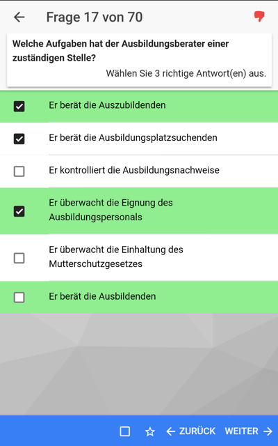 AEVO Held App Android Prüfungsauswertung Detail